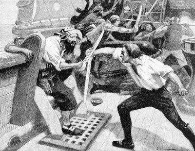 Blackbeard Boarding Maynard's Ship