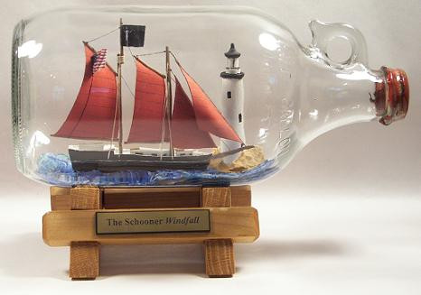 Schooner Windfall in a bottle