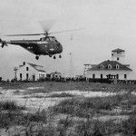 Marine Helicopter Landing Near Ocracoke Coast Guard Station - 1950s