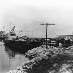 Improvised Ferry Mooring In Silver Lake On Ocracoke Island After Hurricane Helene - 1960s