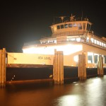 Ferry At Night On Ocracoke Island's Silver Lake