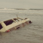 Truck In Surf On Ocracoke Island - 1982